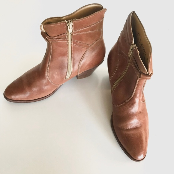 f5eb020769f38 Vintage Regal Tan Leather Cowboy Booties 7.5